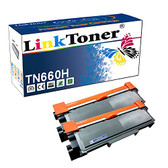 LinkToner Double High Yield TN660 H 2 Pack Compatible Toner Cartridge for Brother TN-630 & TN-660 BK Laser Printer HL-L2300D, HL-L2305W, HL-L2315DW