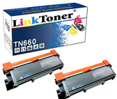 LinkToner TN660 Brother Compatible Toner Cartridge Replacement High Yield for Brother TN-660 BK TN630 2 Pack Laser Printer DCP-L2520D