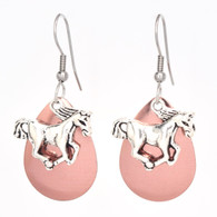 RACING HORSE EARRINGS COPPER TONE