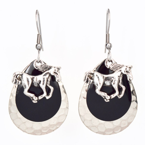 TRIPLE LAYER BLACK RACE HORSE EARRINGS