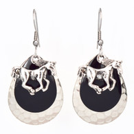 TRIPLE LAYER BLACK RACE HORSE EARRINGS