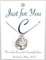 Tree of life w/ faux white druzy,  you choose your letter.