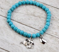 Turquoise Beaded Stretch Bracelet w/ Camper