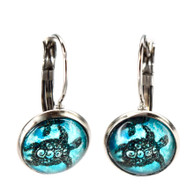 Lever back turtle earrings, 12mm button, hypoallergenic