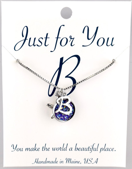 """Starfish w/ purple colored button.  18"""" rhodium plated chain, silver tone.   You choose your own initial in the box below."""