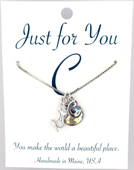 """Mermaid w/ multi- colored button.  18"""" rhodium plated chain, silver tone.   You choose your own initial in the box below."""