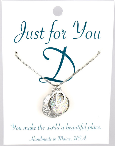 """Sand dollar w/ white button.  18"""" rhodium plated chain, silver tone.   You choose your own initial in the box below."""