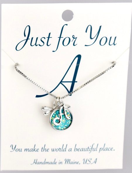 """Dragonfly w/ turquoise colored druzy button.  18"""" rhodium plated chain, silver tone.   You choose your own initial in the box below."""