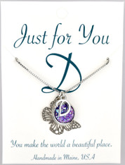 "Butterfly w/ purple colored druzy button.  18"" rhodium plated chain, silver tone.   You choose your own initial in the box below."