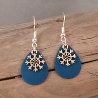 "BLUE SNOW FLAKE EARRINGS  Dimensions:  3/4"" x 1/2"" STERLING SILVER EAR WIRE"