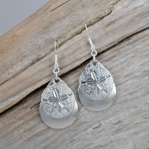 "SAND DOLLAR EARRINGS DIMENSIONS : 1""X 3/4"" STERLING SILVER EAR WIRE"
