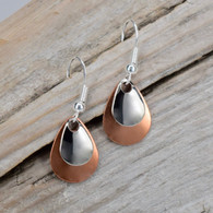Small pair of two tone earrings silver and copper.