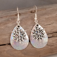 "Snow flake earrings.  Perfect for the holidays.  DIMENSIONS:  3/4"" X 1"""