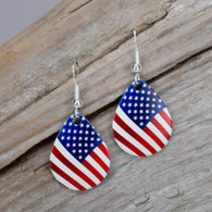 AMERICAN FLAG STERLING EAR WIRES