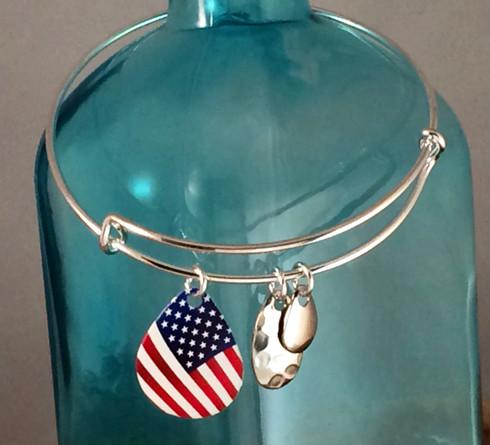 American Flag adjustable bangle