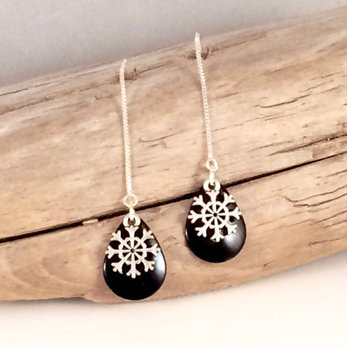 "BLACK SNOW FLAKE DANGLE EARRINGS Dimensions:  2"" x 1/2"" STERLING WIRE/CHAIN"