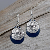 OCEAN BLUE SAND DOLLAR EARRINGS.