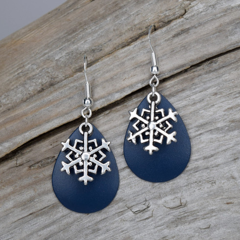 OCEAN BLUE SNOWFLAKE EARRINGS