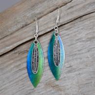 Iridescent surf board earrings