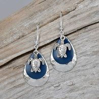 Ocean blue hammered silver turtle earrings.