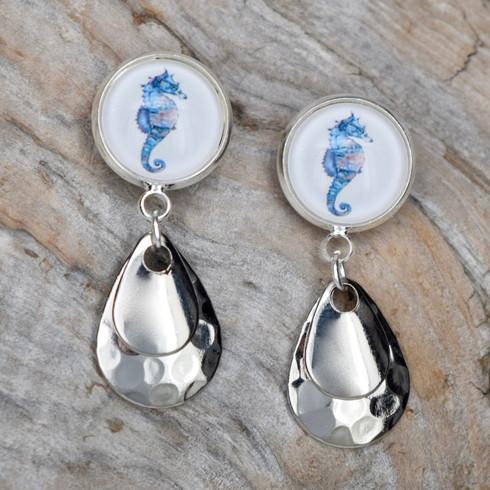 """Seahorse, silver drop .75"""""""