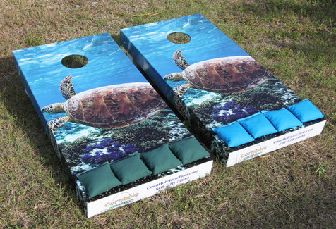 Loggerhead turtle side wrapped graphics creates a unique look for Cornhole Boards