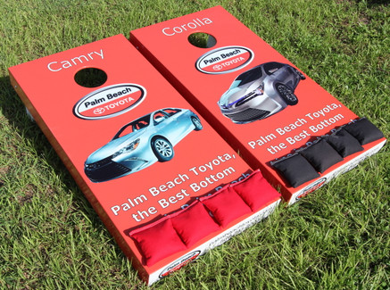 Custom graphics cornhole boards for a business client