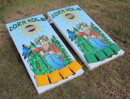 Slimline Cornhole Board set with Farmer graphics