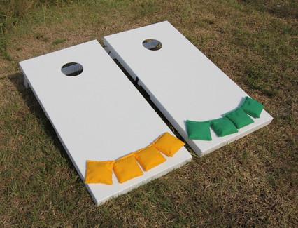 Slimline Cornhole Board Set - painted white