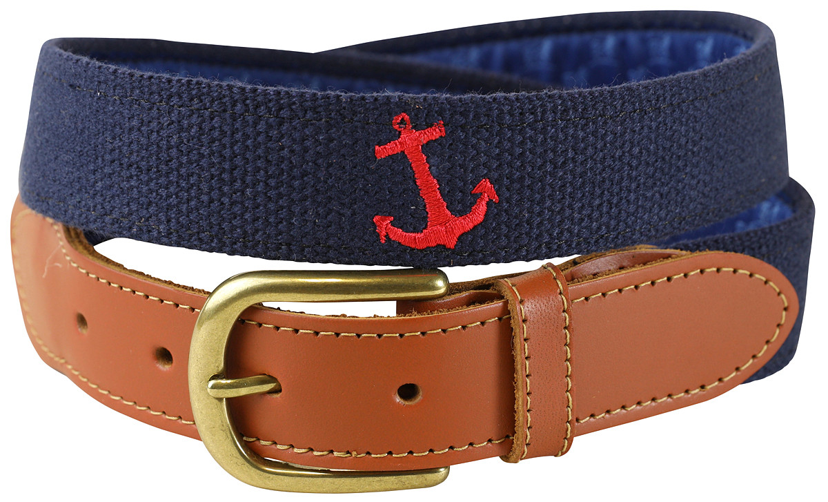 97b46a26b0e Bermuda Belt - Anchor (red) - Belted Cow Company
