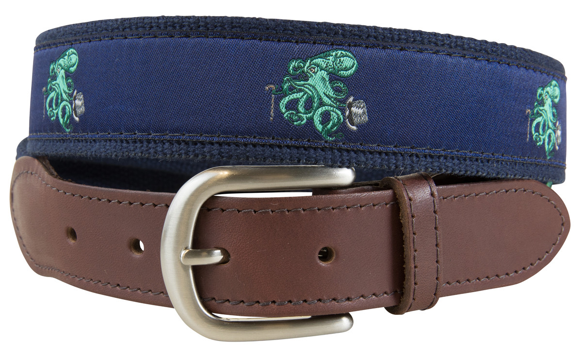 272a8086d213d Octopus in Top Hat Leather Tab Belt - Belted Cow Company