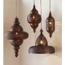 Antique Copper - Set of Hanging Moroccan Light Pendants