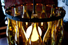 12 Chardonnay Wine Bottles Chandelier