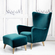 Elsa Wingback Chair and Footstool - many swatches & colors available