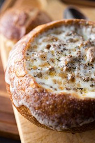 Philly Cheesesteak Stew in a Sourdough Bread Bowl - (Free Recipe below)