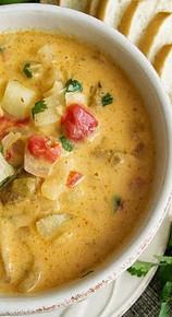 Roasted Red Pepper Potato Soup- (Free Recipe below)