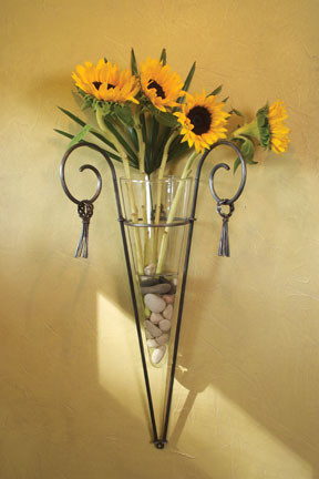Wrought Iron Glass Cone Vase Wall Sconce