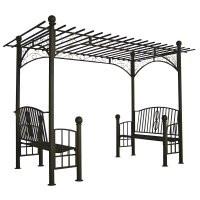 Double Bench Iron Pergola Arbor - custom sizes, styles available
