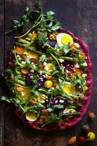 BEET CRUST PIZZA WITH GOAT CHEESE and HEIRLOOM TOMATOES w/ PESTO - (Free Recipe below)