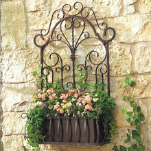 European Wrought Iron Trellis Wall Planter