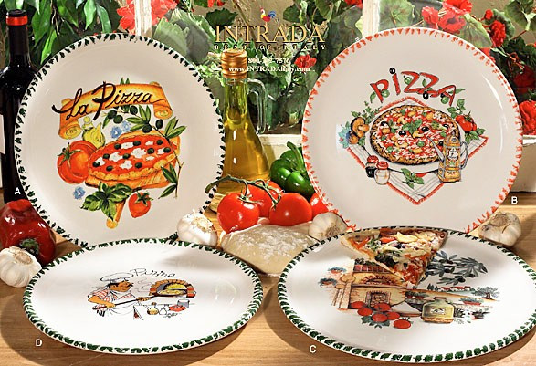 Italian Ceramic Pizza Plates Set Of 4