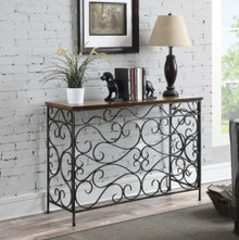 French Iron Scroll Wall Console Hall Table