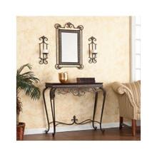 Entryway Hall Table 4 Piece Set Mirror Wall Sconces Decor