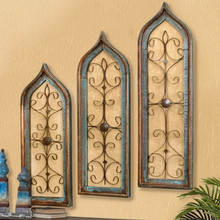 Distressed Window Wall Grilles - Set of 3, Cherry, White or Patina
