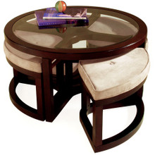 Juniper Wood Round Coffee Table with 4 Stools