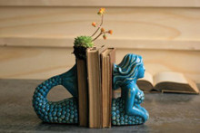 CERAMIC MERMAID BOOKENDS - TURQUOISE