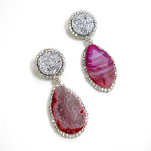 Dusty Pink Agate and Crystal Statement Earrings