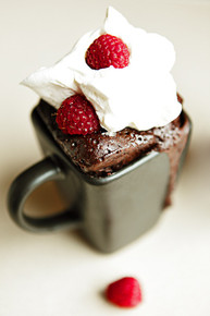Nutella Espresso Mug Cake with Fresh Raspberries - (Free Recipe below)