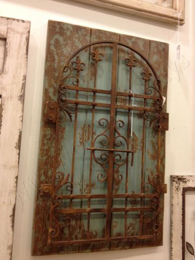 Rustic Iron Distressed Blue Garden Gate Wall Decor