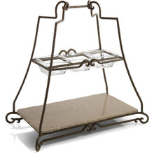 Mendocino 2 Tier Server with Metal Stand